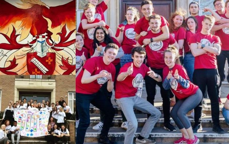 Collage of images featuring students wearing red Grey College t-shirts and a phoenix artwork