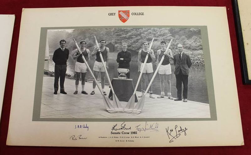 A photo from the Grey College Archive of the boat club Senate Crew in 1965