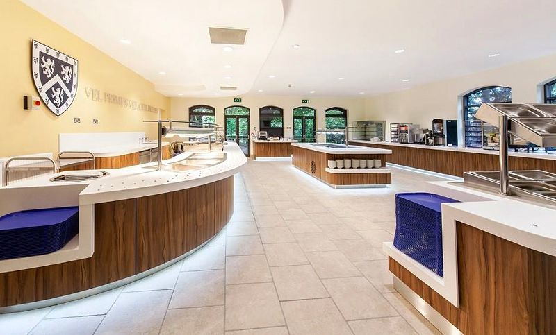 The large modern dining counter service area in college