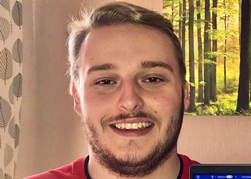 A student testimonial photograph of Jack