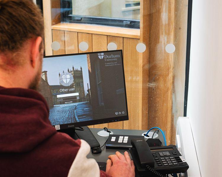 Student logging onto a Durham University computer