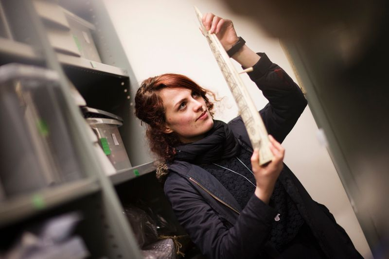 Student holding a bone and exploring the archive collection