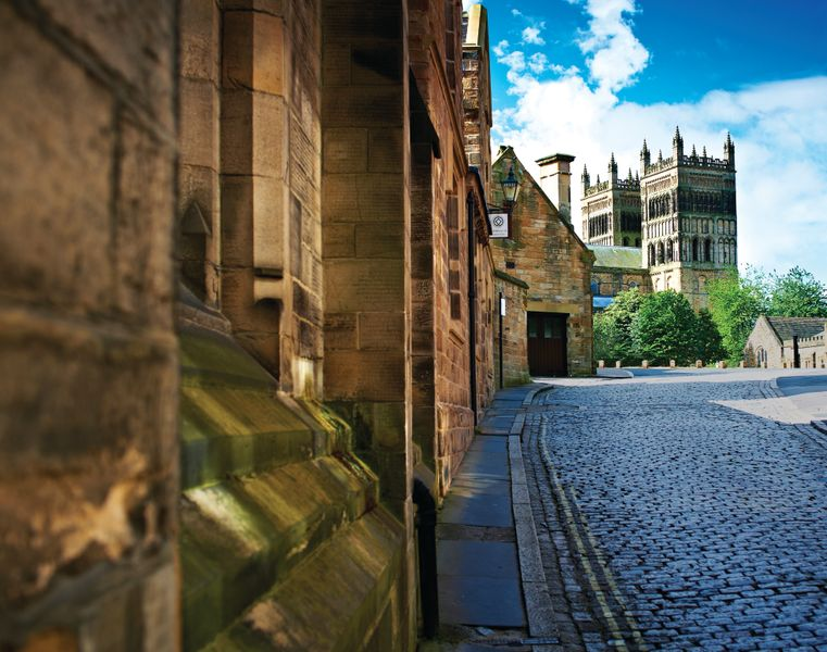 Cobbled street leading up to Durham Cathedral.