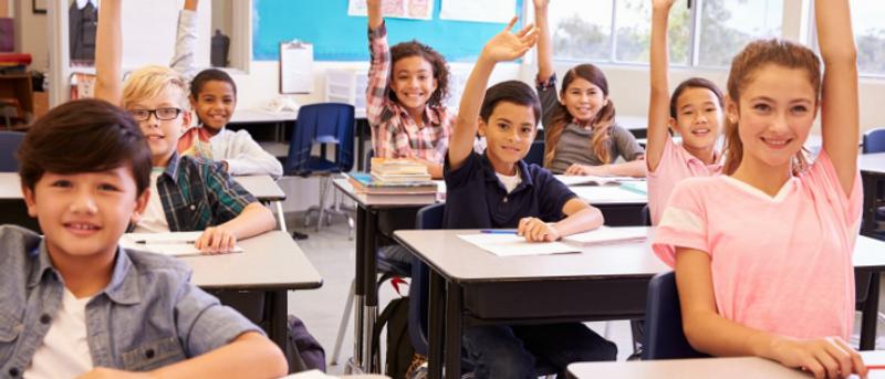 International schoolchildren in classroom