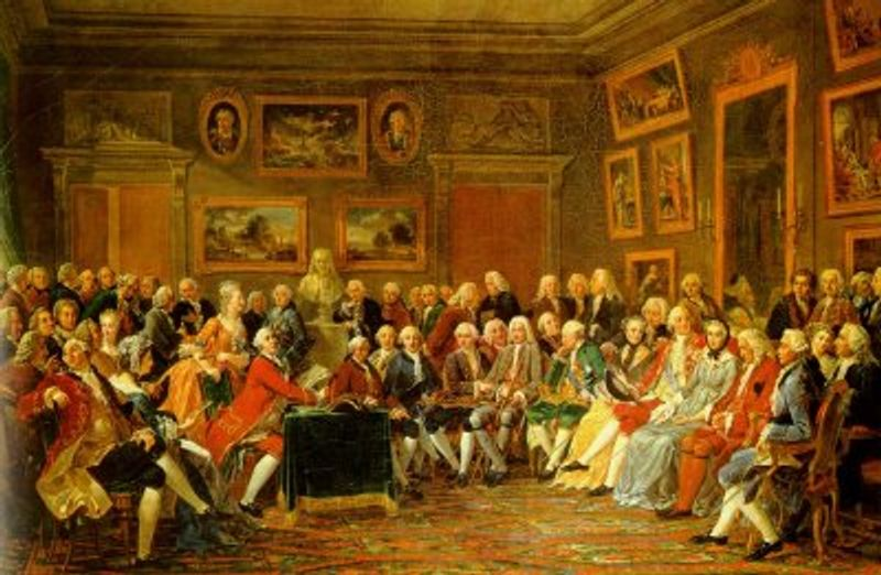 Painting of a soiree of men gathered in an elegant room