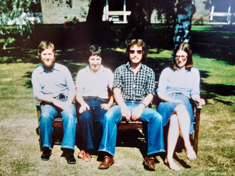 ulie Hope MA Course 1977. From left to right are Nick Beer, Liz Evans, Bob Jackson and Julie Bennett