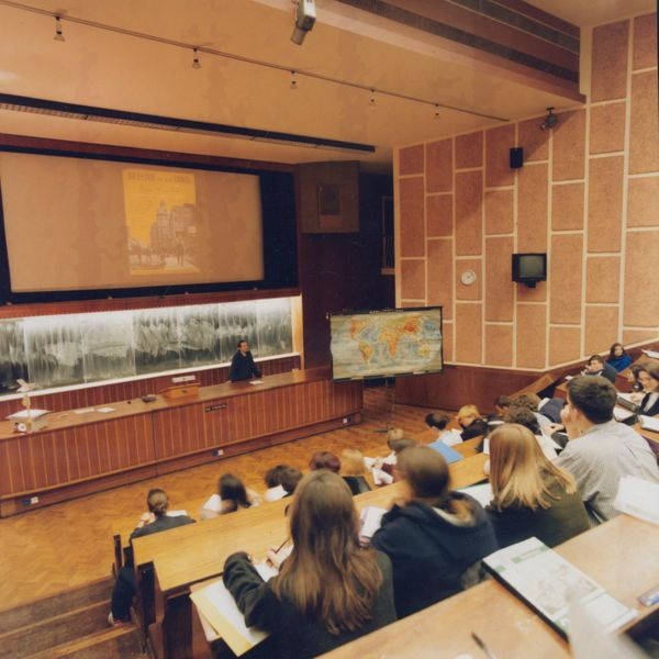 Appleby Lecture Theatre with Mike Crang delivering a lecture in the 1990s