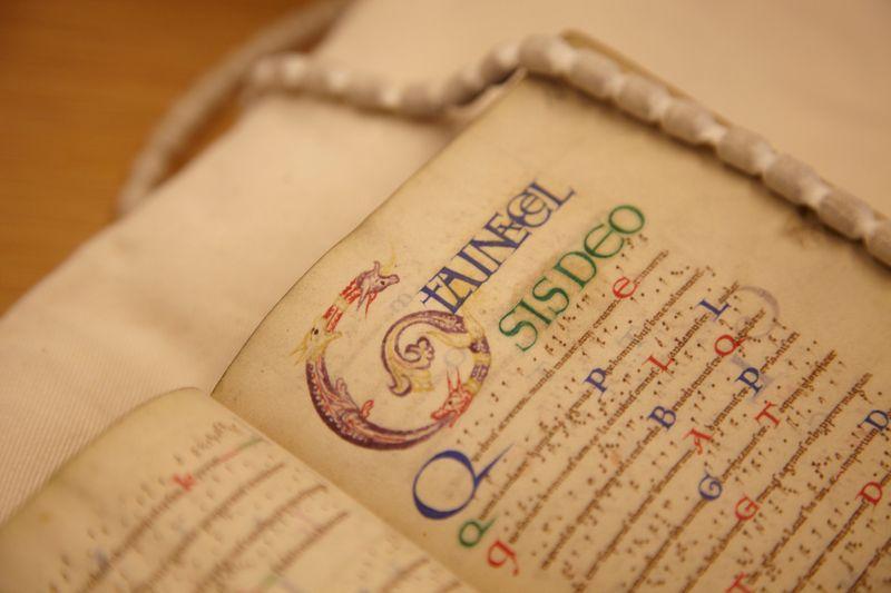 A close up shot of an open historic text