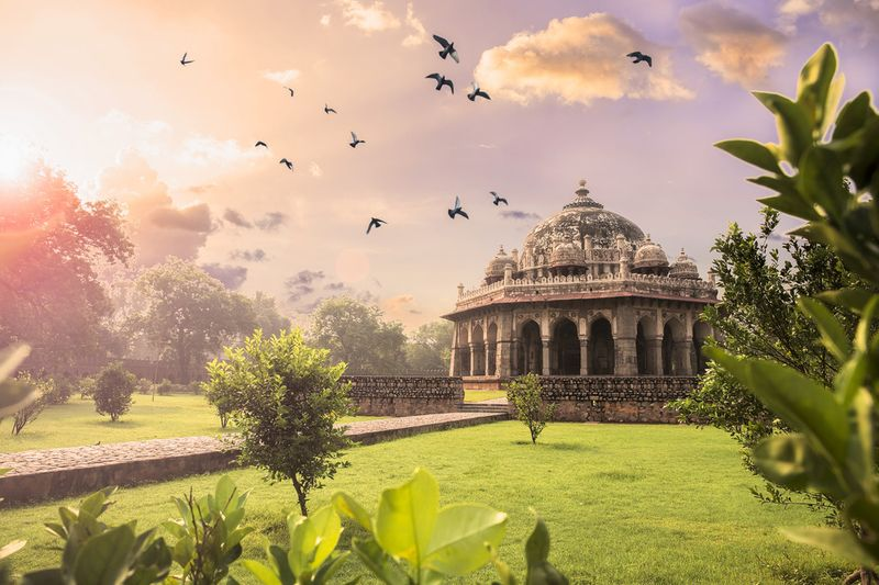 Sixteenth century tomb in India with gardens and birds