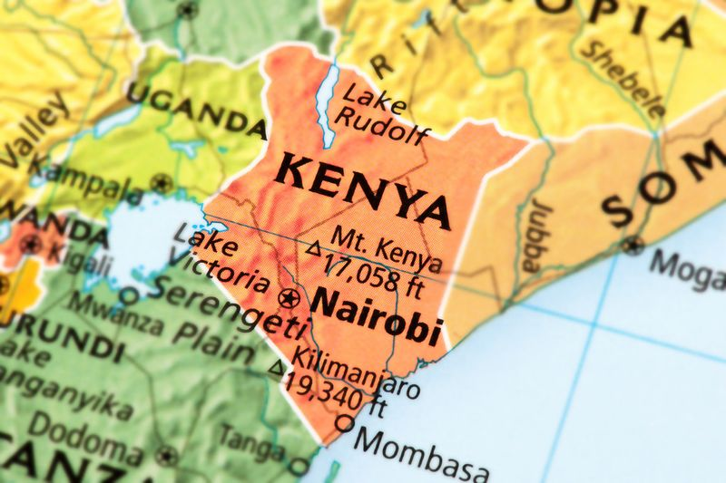 A map showing Kenya