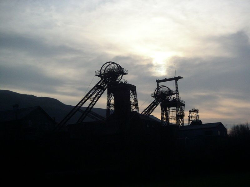 A silhouette of Rhondda Heritage Park