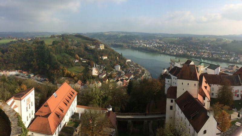 Hilltop view of German village