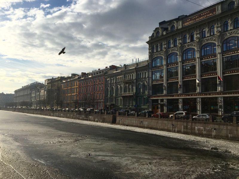 Frozen canal in St Petersburg, Russia