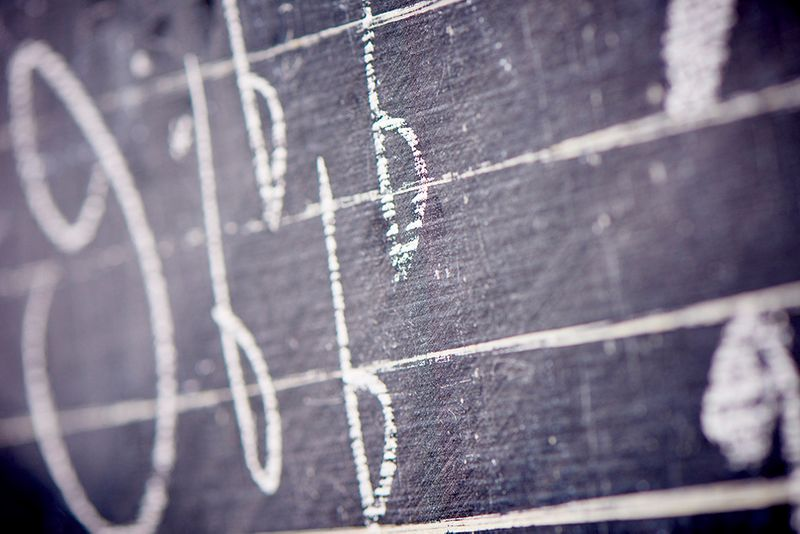 A blackboard with musical notes