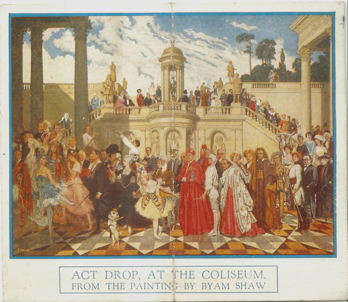 An image of characters from 'Act drop, at the coliseum' from the painting by Byam Shaw