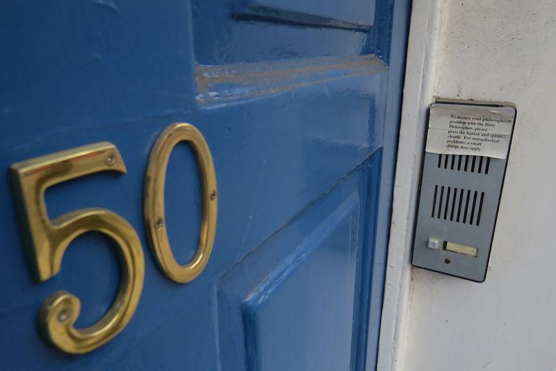 Philosophy door showing the house number 50