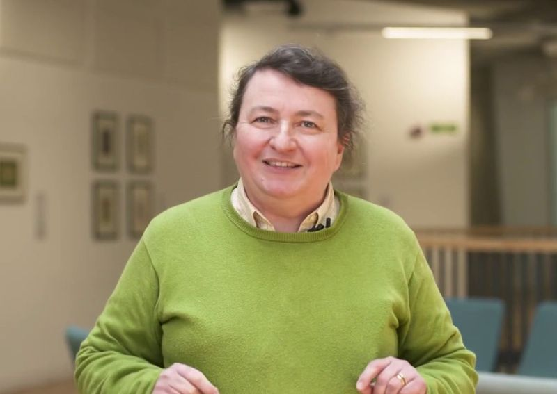 Image of a smiling Prof Paula Chadwick, taken in the new Ogden building