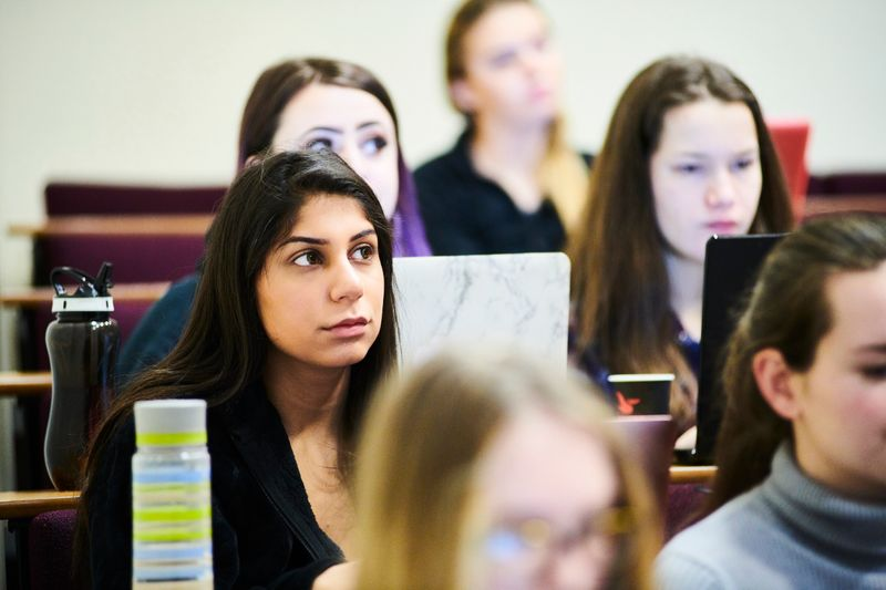 Durham students concentrating in a lecture