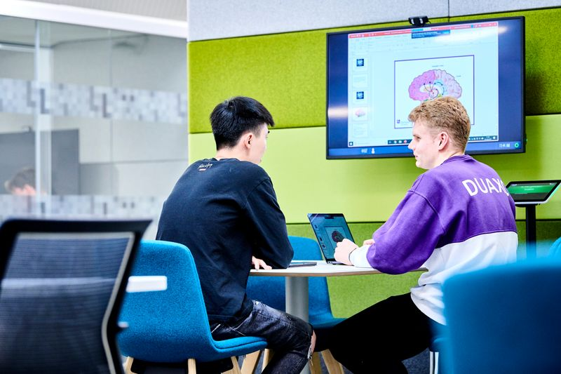 Two level three students examining brain image on large screen in Teaching and Learning Centre