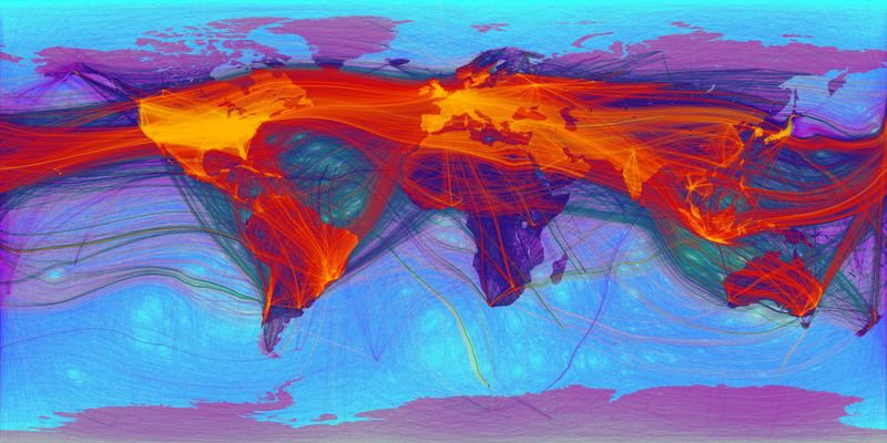Abstract painting of the world with multicolour layers