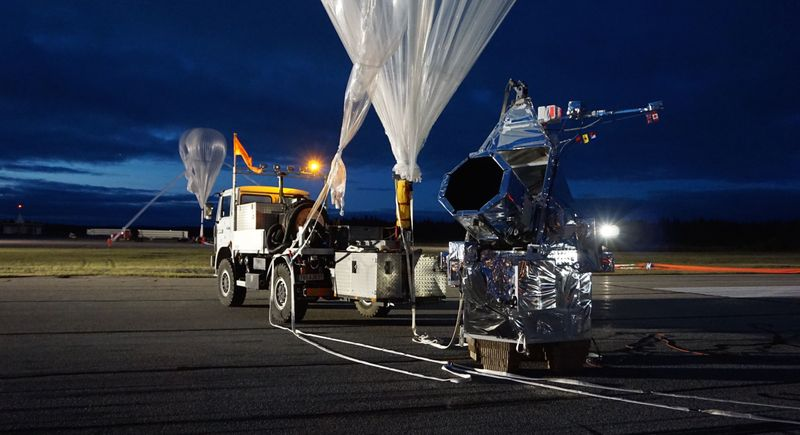 Gigantic helium balloon lanching space telescope
