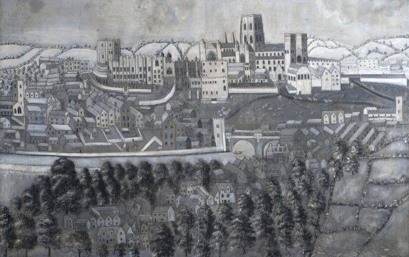 A 17th century painting of Durham featuring the cathedral and castle