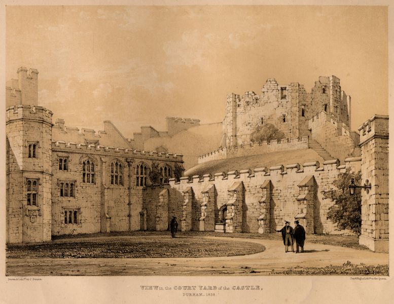 Durham Castle courtyard in 1838, showing the ruined keep prior to rebuilding as Durham University accommodation