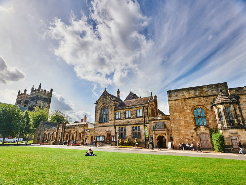 View of Palace Green Library building with Durham Cathedral in the background