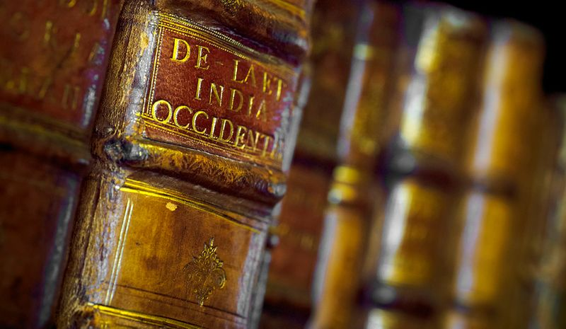 Book spines on a bookshelf