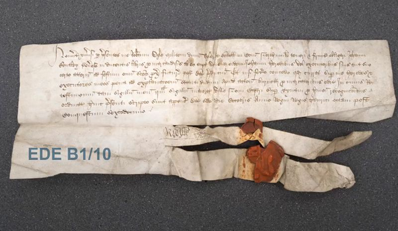 A bond by Robert Ogle, lord of Ogle and Bothal, to John Bentley for merchandise, sealed in 1524 by Ogle and the mayor of Newcastle-upon-Tyne (Eden Papers EDE B1/10)