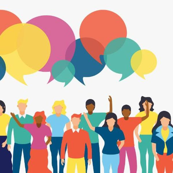 Diverse people team with social chat bubbles