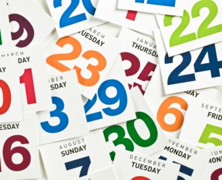 Pile of calendar dates