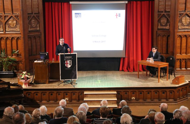 A lecture taking place in Ushaw College