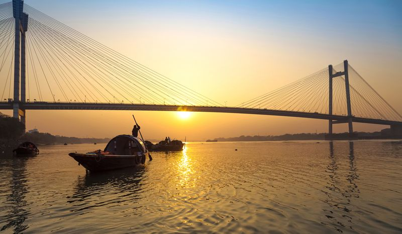 Sunset at Hooghly River, India