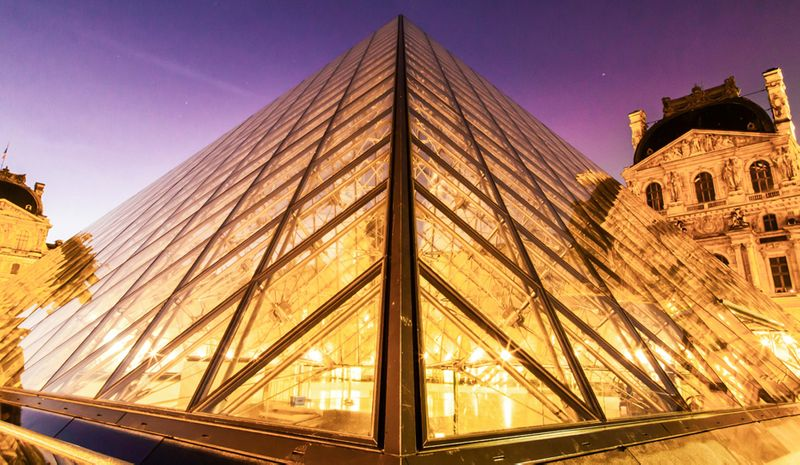 Musée du Louvre glass pyramid at night