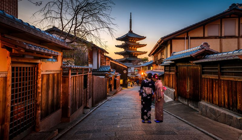 Hōkan-ji Temple, Kyoto, Japan at sunset