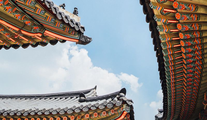 South Korean temple roof ornate architecture