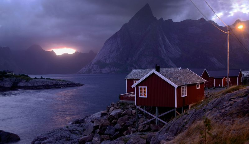 A hut in Norway overlooking a fjord