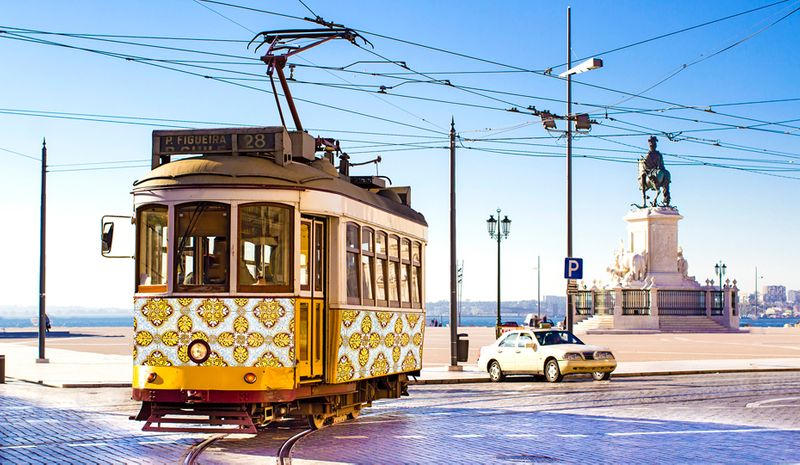 A tram in Lisbon, Portugal