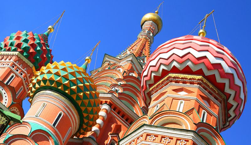 Saint Basil's Cathedral rooftops in Red Square, Moscow