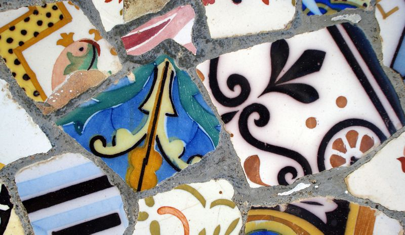 A Greek mosaic made with pieces of broken pottery