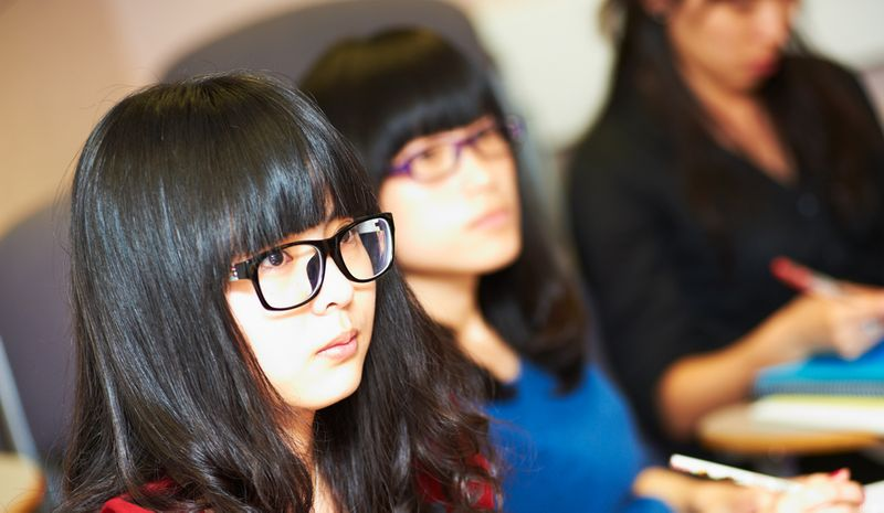 Students listening during a seminar