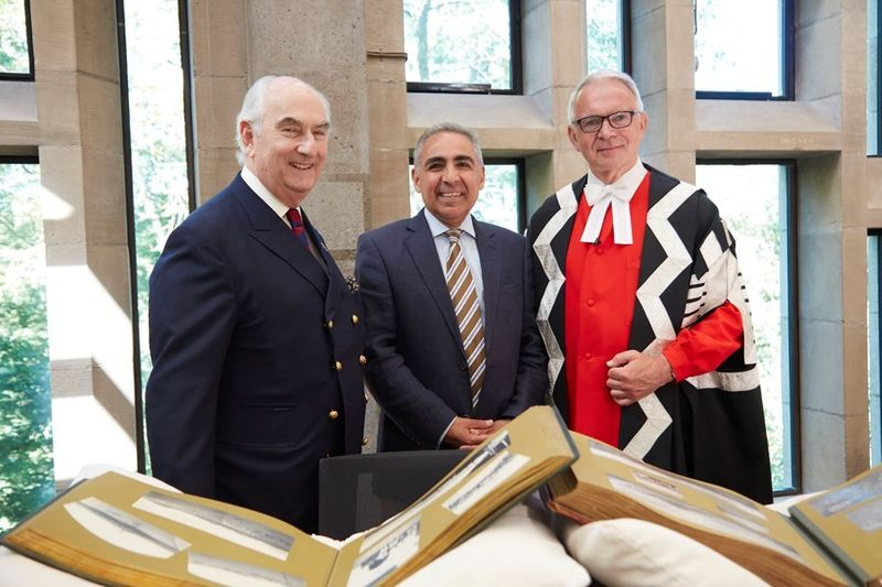 Prince Abbas Hilmi, Chairman of the Trustees of the Mohamed Ali Foundation, Professor Anoush Ehteshami, and Vice-Chancellor Professor Stuart Corbridge, at the inauguration of the Mohamed Ali Foundation Fellowship programme on 29 June 2018.