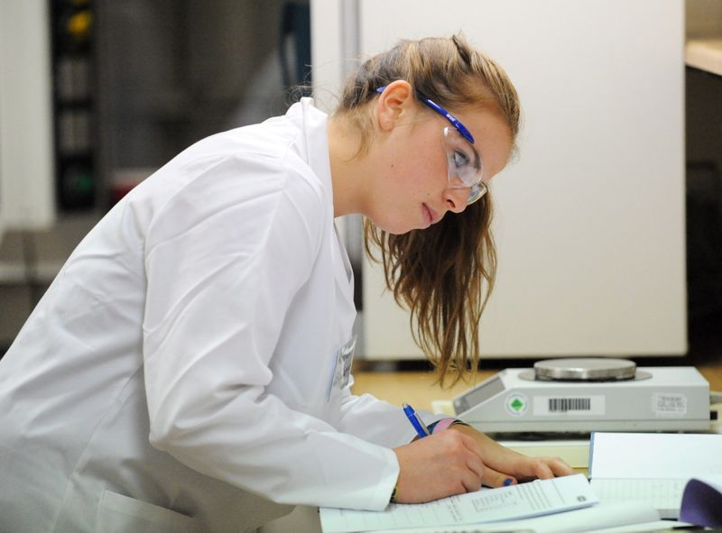 A female student conducting research