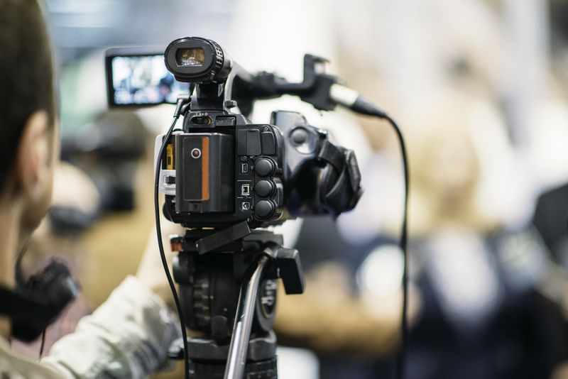 Filming on a video camera