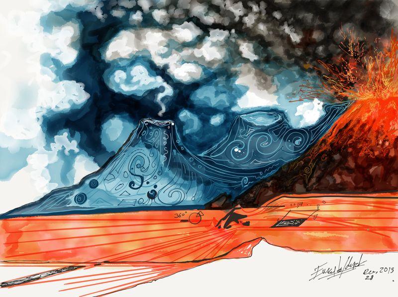 Artwork depicting a volcano erupting