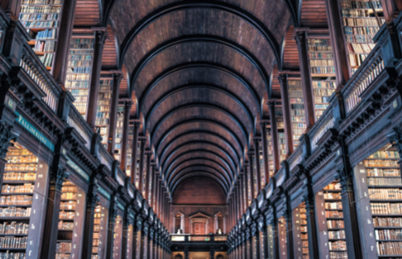 a library ceiling