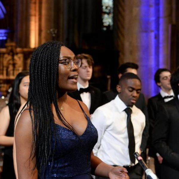 Students singing in Gospel Choir at Durham Cathedral