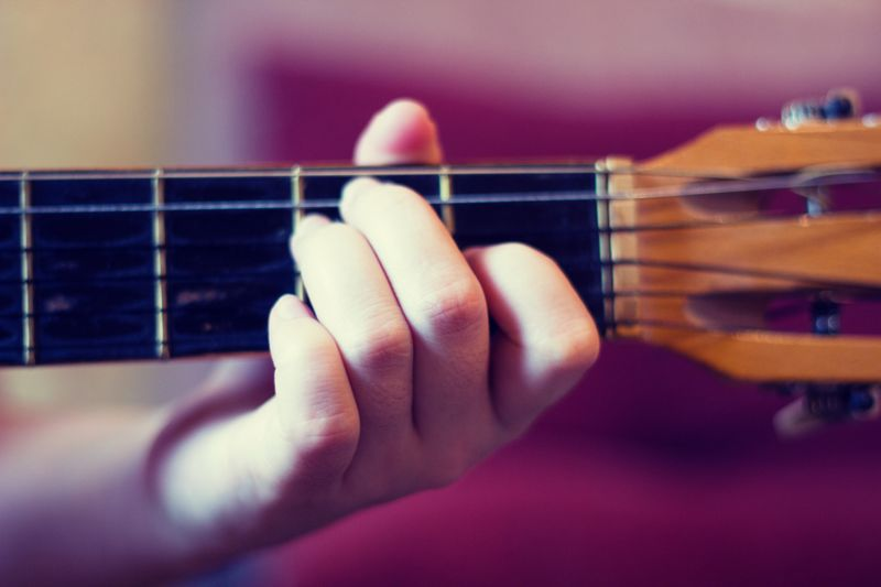 Close up of a hand playing a guitar chord