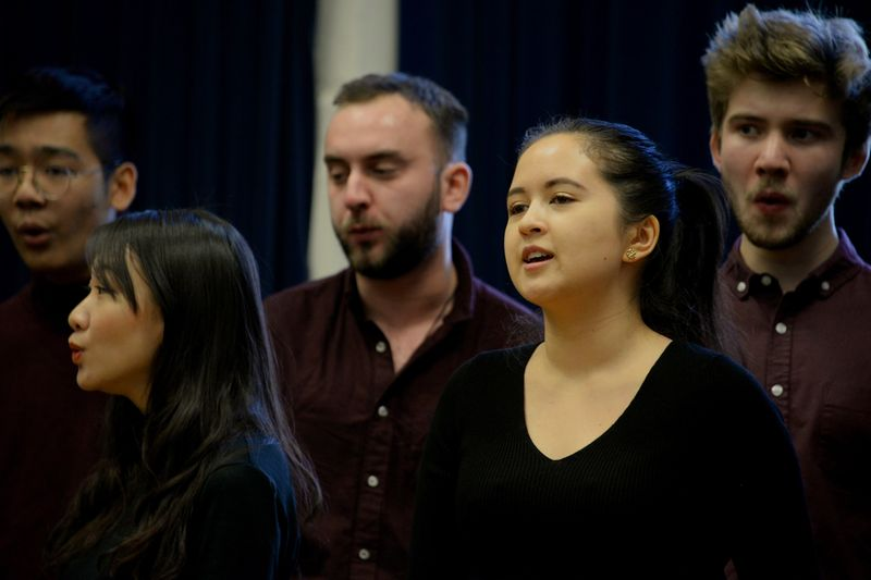 Choir performing during a lunchtime concert